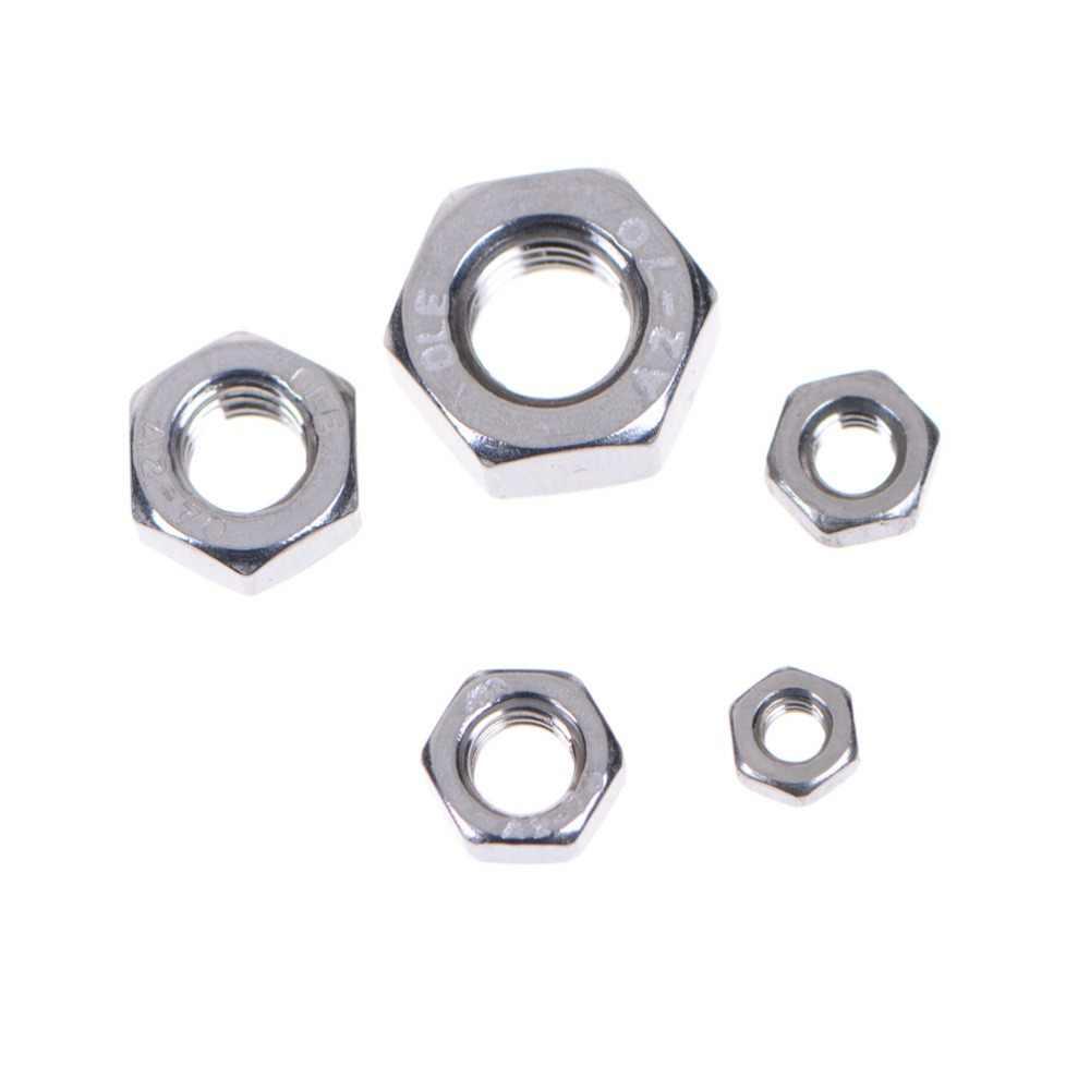 10 ชิ้น/เซ็ต DIN934 M3-M8 304 สแตนเลสสตีล Hex Nut Hexagon Nuts เมตริกด้ายชุดขายร้อน