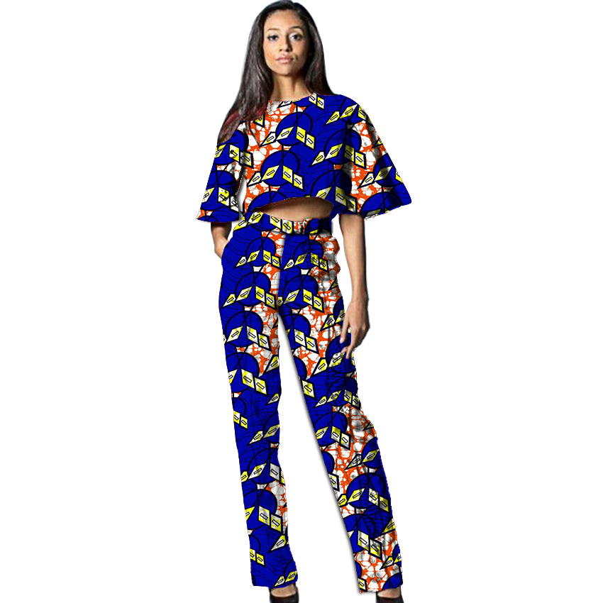 African clothes custom tops and trousers set womens fashion flare sleeve short top long pant africa