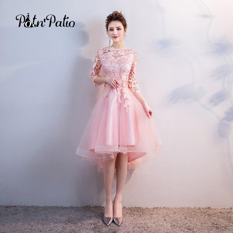 Pink Bridesmaid Dresses Elegant O Neck Short Fron Long