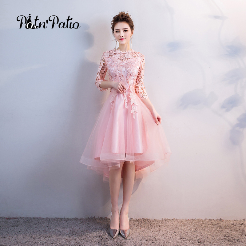 Pink   Bridesmaid     Dresses   Elegant O-neck Short Fron Long Back Lace Wedding Guest   Dresses   2018 High Low   Dress   For Wedding Party