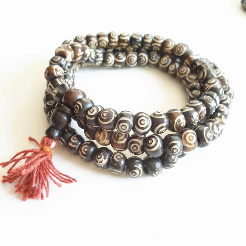 BRO530 Tibetan 108 Yak bone Rosary Necklace Tibet 8-9mm Hand Carved Wisdom Eye Prayer beads Mala