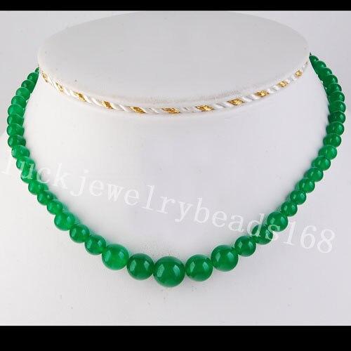 Бесплатная доставка Модные украшения 6 ~ 14 мм зеленый jad мяч Бусины Цепочки и ожерелья 17 fg3278