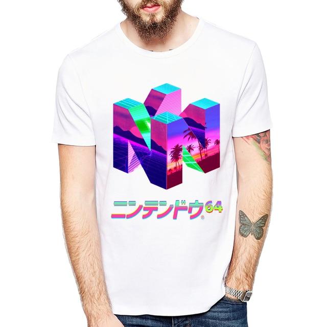 3D geometry Vaporwave T Shirt men Summer fashion High Quality t-shirt casual white print O-Neck print male men top tees