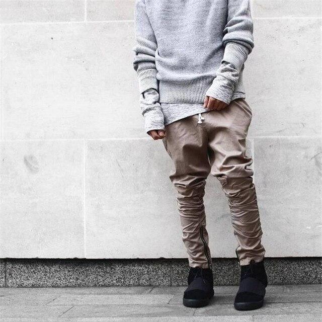 2016 моды kanye west брюки бренд Санкт Manshion Боковой Молнии мужская тонкий Yeezy Повысить Случайные jogger Брюки Khiki Черный Зеленый