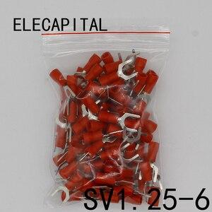 SV1.25-6 красные клеммы холодного прессования кабельный провод соединитель 100 штук упак. Лопата обжимной Лопата клеммный разъем SV1-6 SV