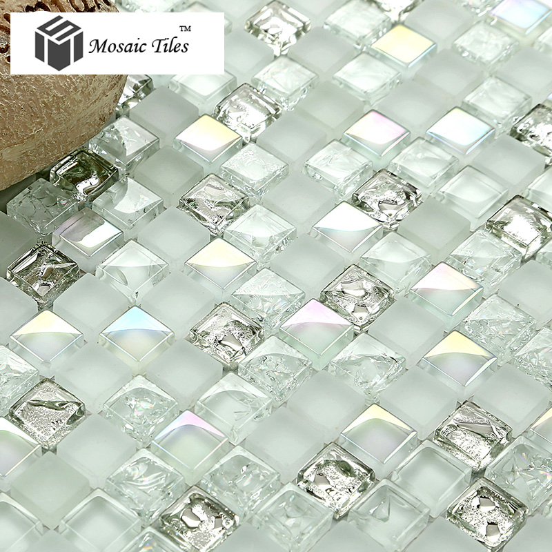tst white glass tiles iridescent aqua kitchen backsplash tile mosaic bathroom fireplace deco inner crack waterdrop design 11 sf