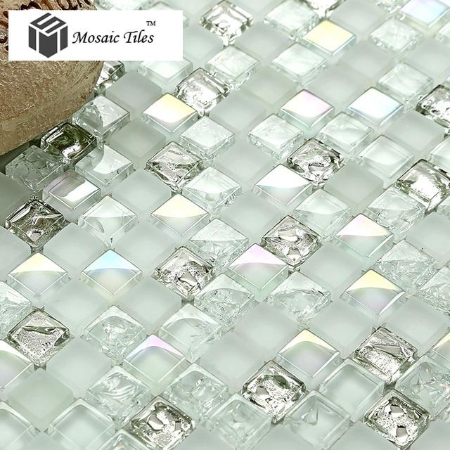 Tst White Gl Tiles Iridescent Aqua Kitchen Backsplash Tile Mosaic Bathroom Fireplace Deco Inner Waterdrop