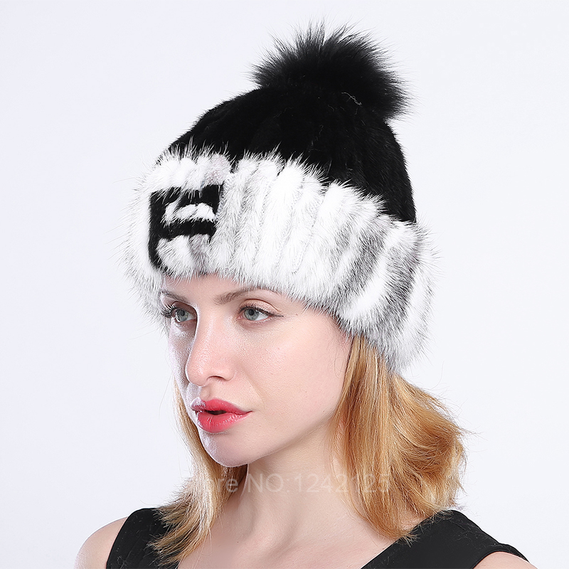 New winter women kids children girl knitted mink fur hat warm striped letter with fox fur ball real mink weave hat cap beanies the new children s cubs hat qiu dong with cartoon animals knitting wool cap and pile