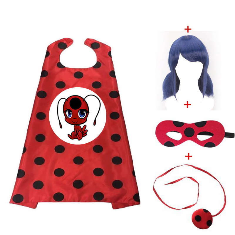 Christmas Ladybug Cosplay Cape Wig Cape Halloween Mask Superhero Cloak Mask Girl Set Marinette Costume Cape  Anime