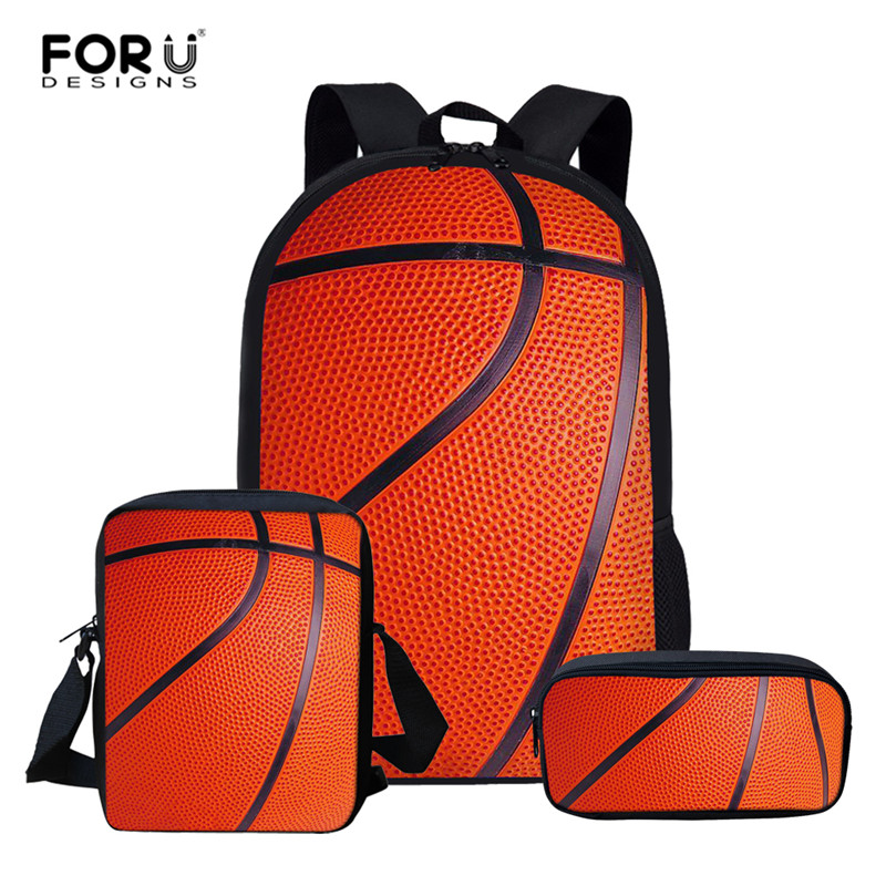 FORUDESIGNS Basketball Printing Backpack Kids Boys School Bag Set Daily Backpacks Children mochila escolar