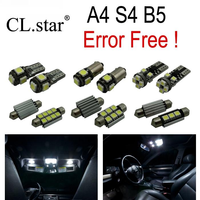 15pc X Canbus Error free LED Interior Light Kit Package for Audi A4 S4 B5 Sedan Quattro (1996-2001) free shipping 60 17x a4 s4 b5 1998 2001 white led lights interior package kit canbus