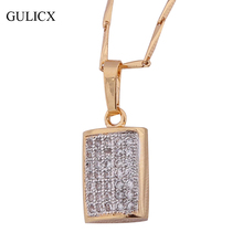 GULICX Brand Fashion Square Gold-color Engagement Jewelry White Crystal Zirconia Necklaces Pendants for Women P045