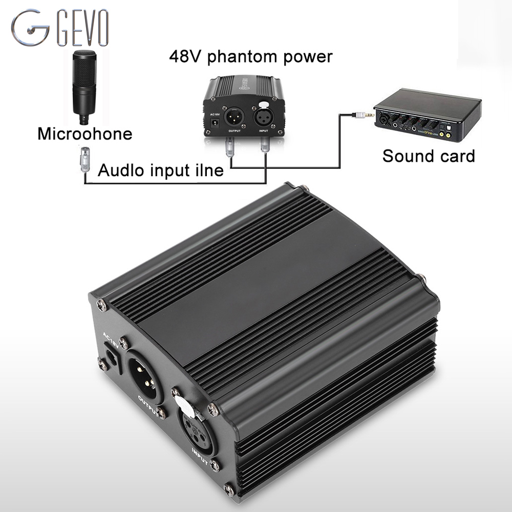 GEVO phantom power 48v supply with adapter EU 3M audio XLR cable for condenser microphone studio music voice recording equipment