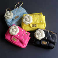 KAFVNIE Children Handbag Girl Shoulder Bag Fashion Flower Rivet Glitter Metal chain Bucket Kid Flap Bag Shiny Party Baby Purse