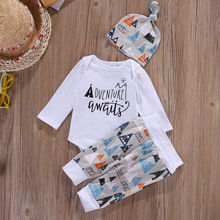 Newborn Baby Boy Long Sleeve Top Romper +Long Pants Hat 3PCS Outfits Set Clothes
