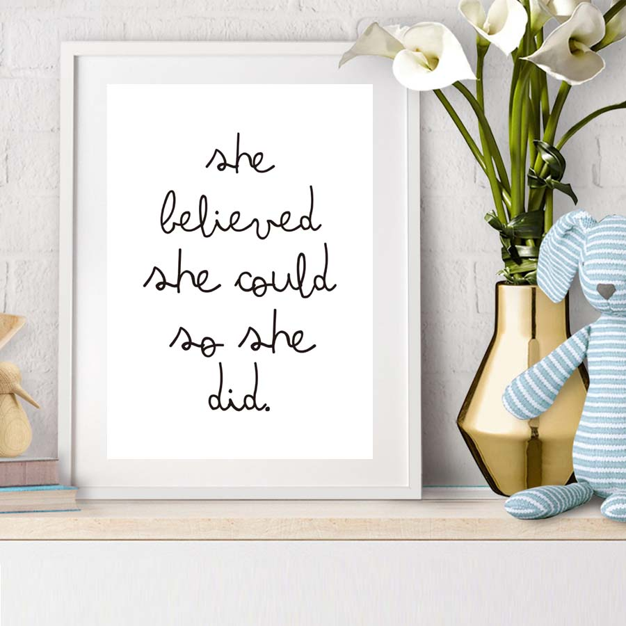 Inspirational Quote She Believed Could So Did Modern Minimalist Picture Poster Canvas Wall Paintinghome Decor No Frame In Painting Calligraphy