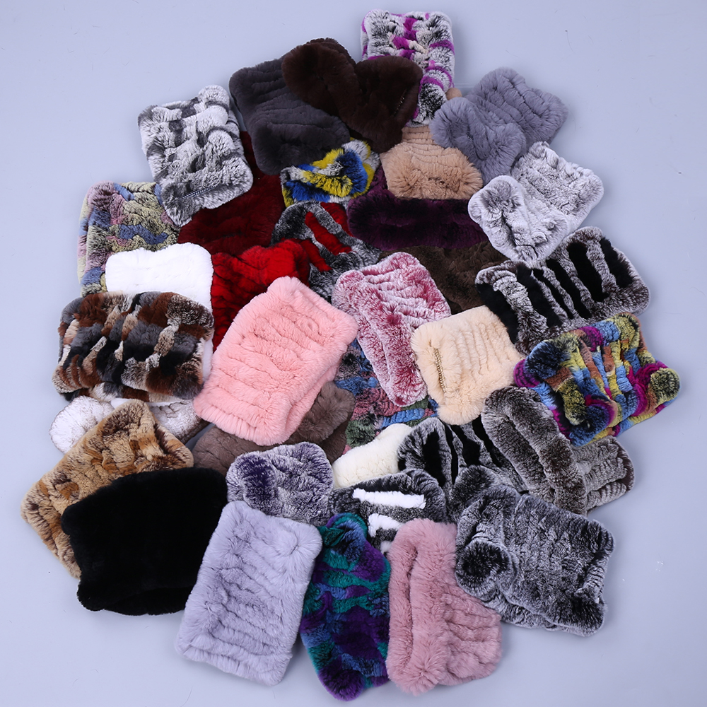 Women Real Fur Handmade Stretch Fur Scarf Knit Genuine Rex Rabbit Fur Headbands Girls Natural Fur Ring Cowl Snood Scarves Winter