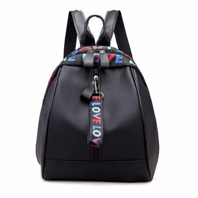 Fashion Women's Backpack Simple Black Trend Letter Zipper Travel Backpack Shoulder Bag