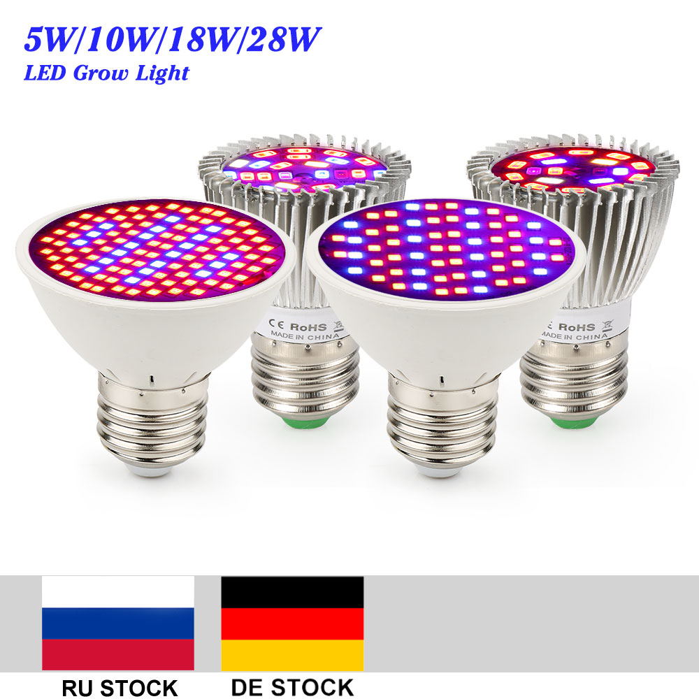 4pcs/lot LED Grow Lights 5W 10W 18W 28W E27 Full Spectrum Led Grow Lamp For Flower Vegetables Hydroponics System Plant Grow Tent