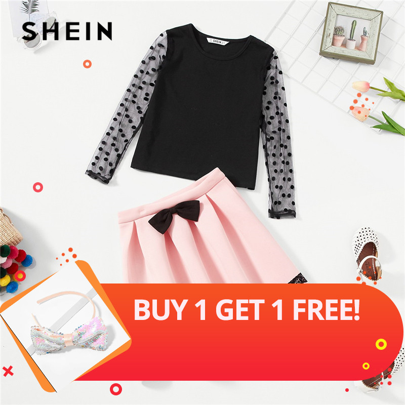 SHEIN Girls Dot Mesh Sleeve Top And Bow Front Skirt Two Piece Set Kids Clothing 2019 Spring Fashion Pleated Children Clothes Set front twist graphic strappy bikini set