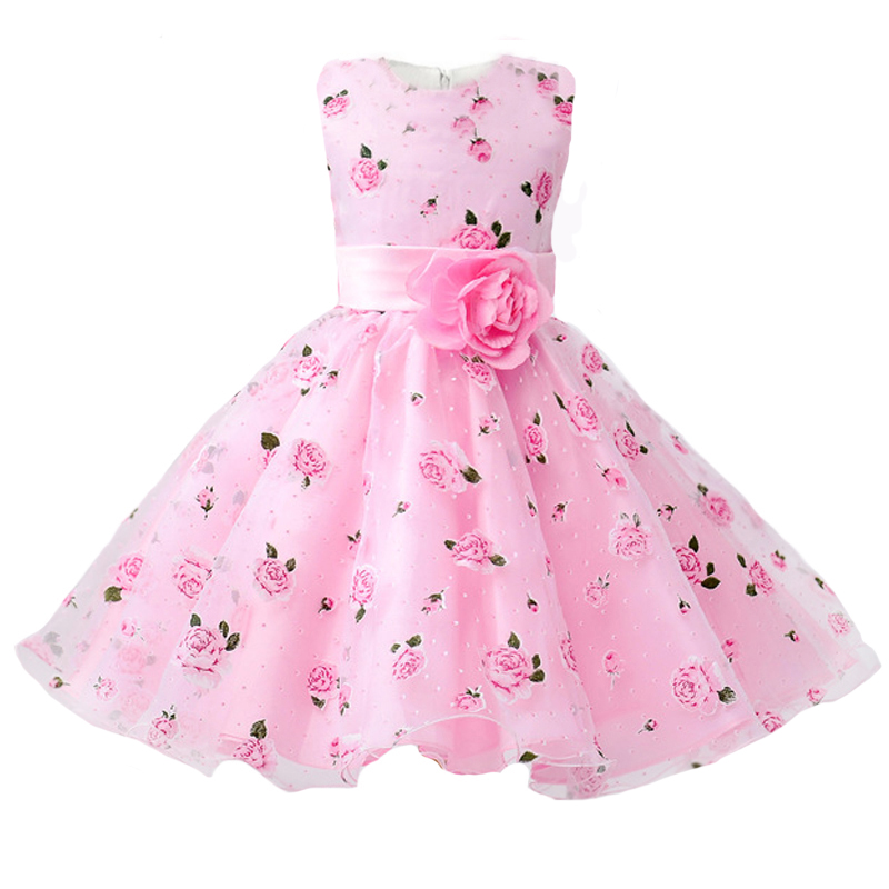 Girls Party Dress 2018 New Arrival Summer Flower Print Birthday Prom kids Clothes Baby Girls Dress for 3-8 Years kids girls party dress 2018 summer new