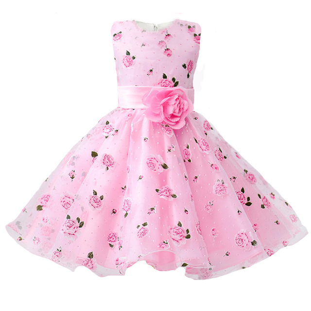 b69bc43950050 Girls Party Dress 2018 New Arrival Summer Flower Print Birthday Prom kids  Clothes Baby Girls Dress