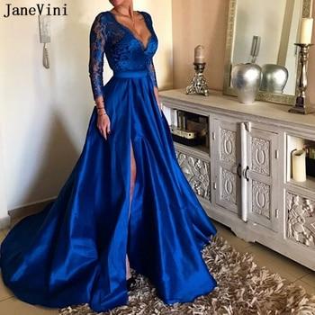 JaneVini Elegant Lace Royal Blue Long Sleeve Prom Dresses Sexy Deep V Neck High Split Illusion A Line Satin Gown Vestidos Largos royal blue sexy v neck lace details bikini set