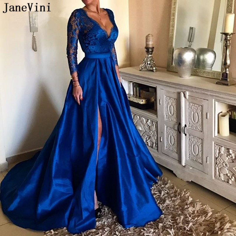 JaneVini Elegant Lace Royal Blue Long Sleeve   Prom     Dresses   Sexy Deep V Neck High Split Illusion A Line Satin Gown Vestidos Largos