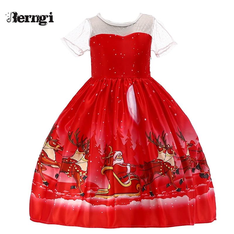 8c38e5e75 Berngi 2018 vestido de Navidad para niñas, vestidos de princesa de fiesta  de regalo de Año Nuevo de 2 a 10 años