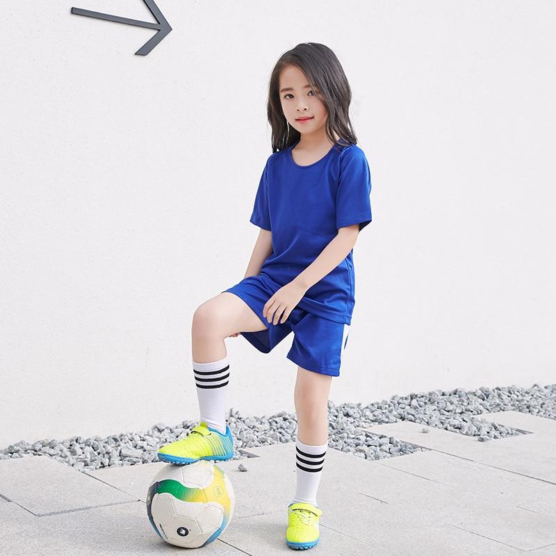 New Boys Girls Football Jersey 6-11T Big Kids School Sports Uniform Quick-dry  Children Training Clothes Blue Accept Customize  0827fdf74