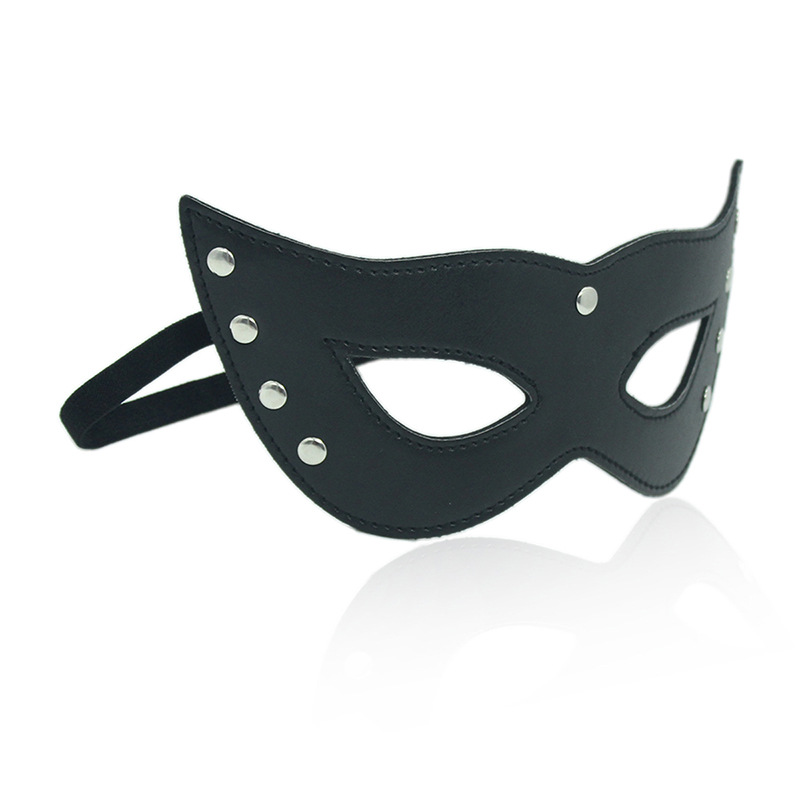 Flirting Role Play Erotic Toys For Adults PU Leather Rivet Eye Mask Masquerade Party Nightclub Coslay Cat-girl Sexy Costumes