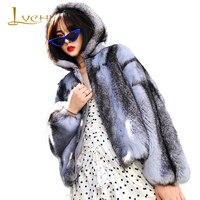 LVCHI 2019 зима Импорт норки пальто из настоящего меха шубы Для женщин шляпа с длинным рукавом светло фиолетовый светло голубой Цвет Короткие сш