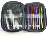1 Set 22 stks multi-color Aluminium Haaknaalden Naalden Knit Weave Craft Tool Met Paars Gift Bag