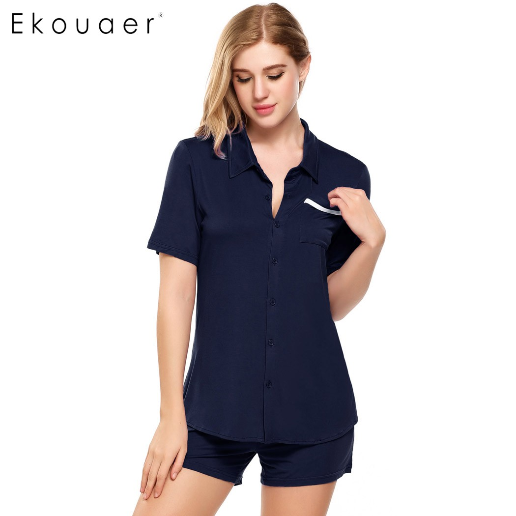 2e6c29c820d Ekouaer Casual Pajamas Sets Womens Short Sleeve Solid Slim Sleepwear Button  down Collar Nightwear Summer Nightgown-in Pajama Sets from Underwear ...