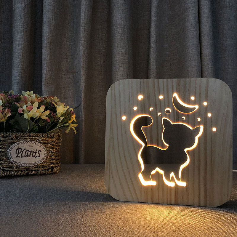 3D Cat Shadow Wooden Night Light Carved Wooden Bedside Lamp Kids Baby Night Lamp for Relaxing Atmosphere or Birthday Gifts 2018 hero batman bat wall night light lampara shadow projection lamp child kids toy gifts warm light sensor contrller multicolor
