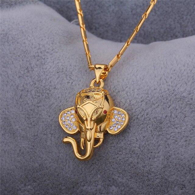 U7 Indian Elephant Pendant Gold Plated Cubic Zirconia Trendy Lovely Animal Necklace Women/Men Jewelry P471