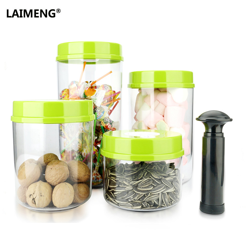 LAIMENG Hand Held Vacuum Container for Food Working With Vacuum Sealer Packing Machine Best Vacuum Canisters 2PCS With Pump S186 adjustable container