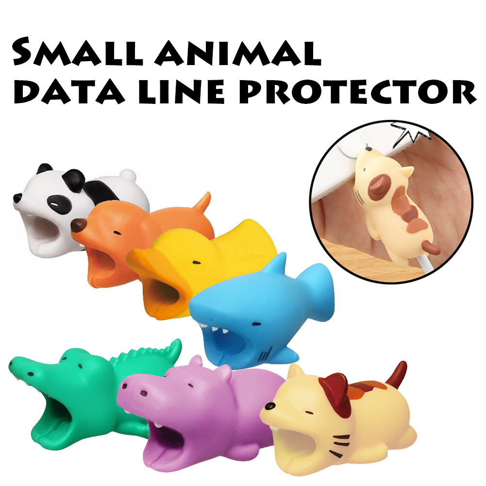 Dropshipping 1pcs Cute Animal Cable Protector Data Line  Protectors Mobile Phone Connector Accessory