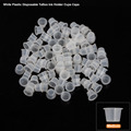 CHUSE 100pcs Medium Size Disposable Tattoo Cups Plastic Permanent Makeup Ink Cups & Caps Supply Microblading Cups