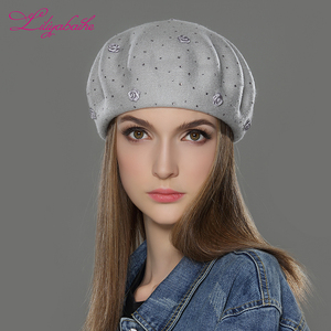 Image 5 - LILIYABAIHE new styleWomen Winter Hat wool angora Knitted Berets Cap solid colors fashion the most popular decoration Roses caps