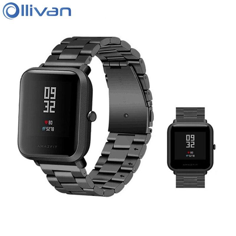 Ollivan Remplacement Bracelet En Métal Pour Xiaomi Huami Amazfit Bip PEU RYTHME Lite Jeunes Montre Intelligente Portable Poignet Bracelet Bracelet