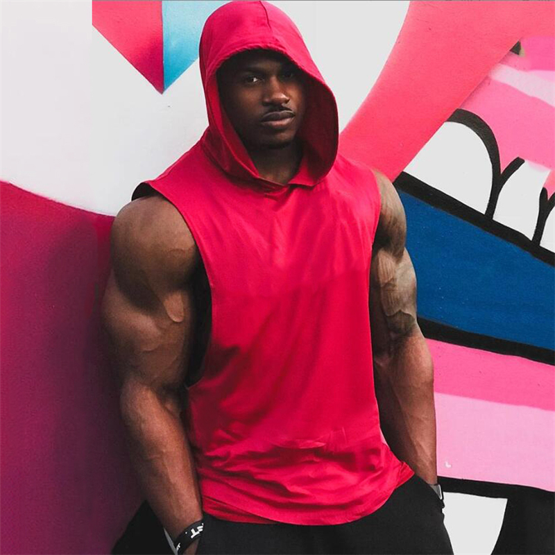 New Summer Cotton Blank Bodybuilding   Tank     top   Men Fitness Hooded Vest Sleeveless Hoodie Sporting Loose Workout Gyms Clothing