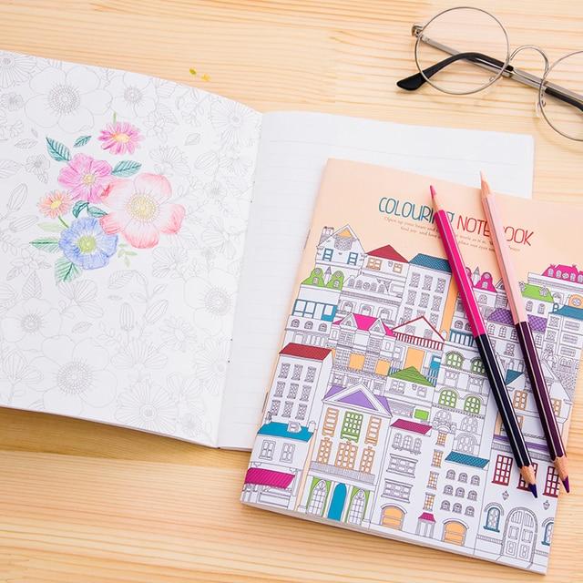 2 Pcs Lot Notebook Mewarnai Rumah Kue Taman Bunga Lukisan Gambar