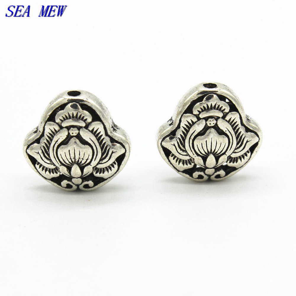 SEA MEW 10 PCS 18mm*17.5mm Vintage Metal Alloy Spacer Beads Carved Buddha Beads With 3 Hole For Jewelry Making 539bz