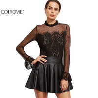 COLROVE Designer Shirts For Women Top Brand Black Lace Blouse Black Fungus Collar Keyhole Back Lace