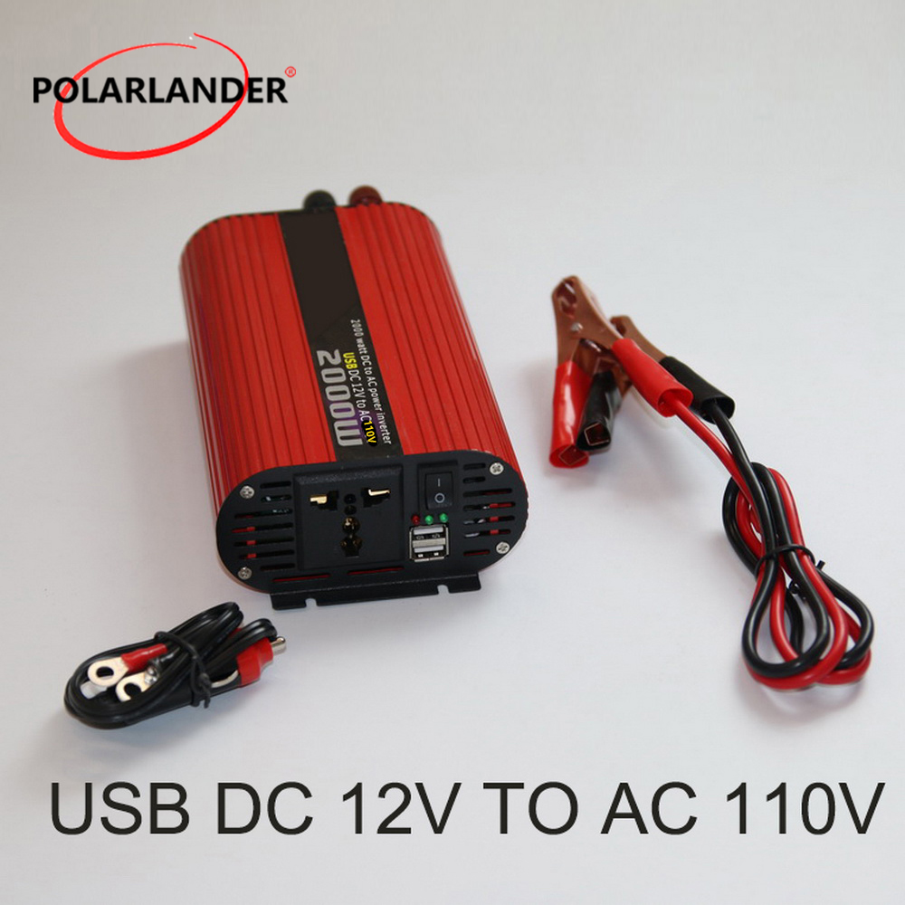 DC 12V to AC <font><b>220V</b></font>/ Converter DC <font><b>24V</b></font> to AC <font><b>220V</b></font>/ DC 12V to AC 110V/ DC <font><b>24V</b></font> to AC 110V/ Dual USB <font><b>2000W</b></font> Power Car <font><b>Inverter</b></font> image