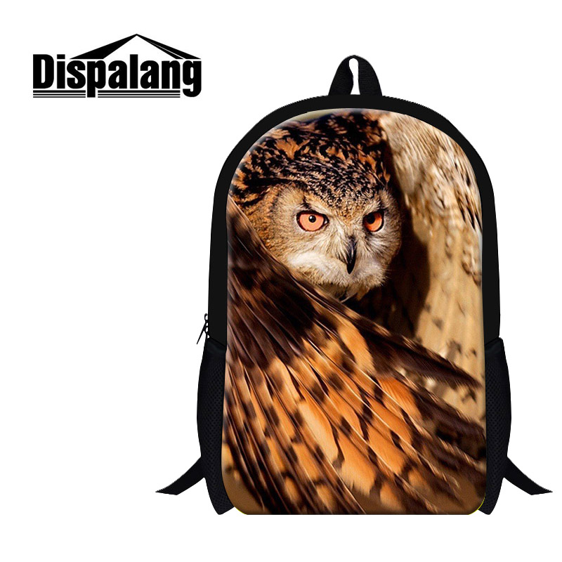 Dispalang New Design Primary Student Backpack Owl Bird Prints Lightweight School Backpacks For Boys 16 Inch Children School Bag