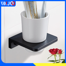 Toothbrush Holder Black Aluminum Single Glass Cup Tumbler Holder Bathroom Accessories Tooth brush Holder Set Wall Mounted luxury brush tumbler ceramic cup holder antique bronze single toothbrush holder wall mounted ceramic bathroom accessories