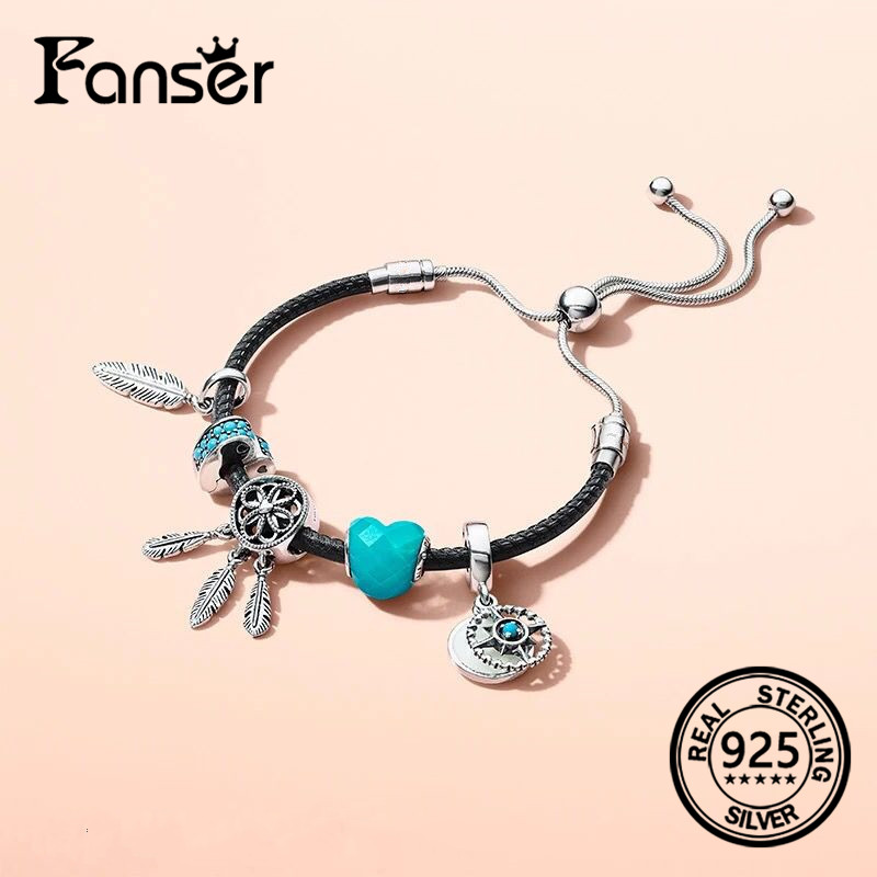 FANSER 2018 Summer NEW Retro feather six star pendant leather rope bracelet Original LOGO pandor jewelry for women ...