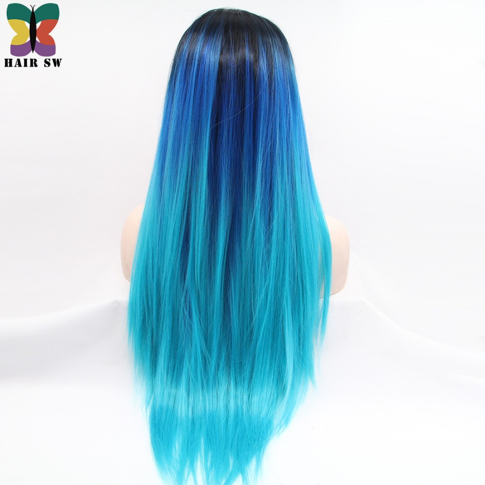 hair sw long straight synthetic lace front wig dark blue to light